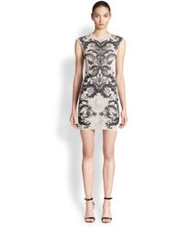 Alexander McQueen Lace Intarsia-knit Shift Dress - Lyst