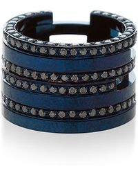Maison Dauphin | Blue Rhodium And Four Black Diamond Row Ring | Lyst