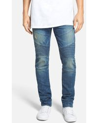 True Religion 'Rocco' Slim Fit Moto Jeans - Lyst