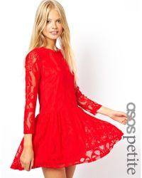 Asos Exclusive Lace Dress with Peplum Hem - Lyst