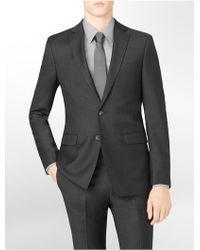Calvin Klein White Label Body Slim Fit Charcoal Wool Suit Jacket - Lyst