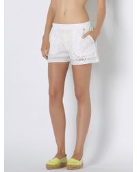 Patrizia Pepe Cotton Muslin Shorts With Embroidery - Lyst
