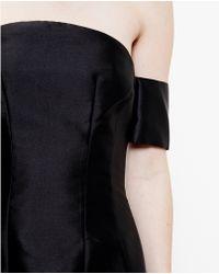 Carven Strapless Silk Satin Dress - Lyst