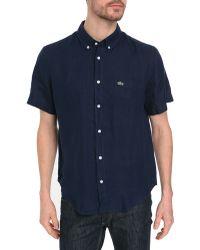 Lacoste Navy Linen Ss Shirt - Lyst
