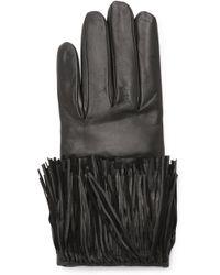 Diane von Furstenberg - Fringe Leather Gloves - Black - Lyst