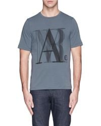 Armani Abstract Logo Print Cotton T-Shirt - Lyst