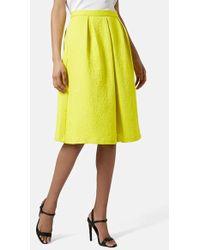 Topshop  Pleated Jacquard Midi Skirt - Lyst