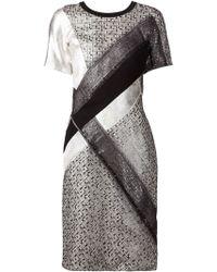 J. Mendel Embroidered Mesh Panel Dress - Lyst