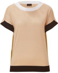 Fendi Sand/Blush-Multi Cashmere-Silk Crewneck Pullover - Lyst