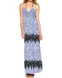 T-bags Deep V Ruched Maxi Dress In Periwinkle blue - Lyst