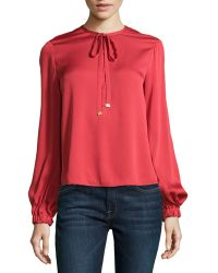 Diane Von Furstenberg Balloon-sleeve Billowy Silk Blouse - Lyst