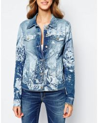 Versace | Jeans Rose Print Denim Jacket | Lyst