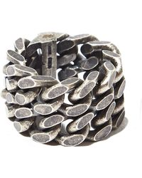 Saint Laurent Mens Silver Double Chain Ring - Lyst
