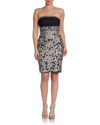 Sue Wong Ruchedbodice Strapless Dress - Lyst