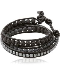 Colana - Double Wrap Leather And Lava Bracelet - Lyst