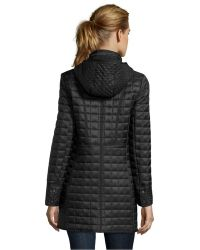 DKNY Black Microbox Quilted 'Sloan' Hooded 3/4 Length Jacket - Lyst