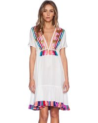 Shoshanna Rainbow Fringe Peasant Dress - Lyst