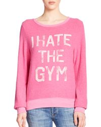 Wildfox 'I Hate The Gym' Printed Pullover pink - Lyst