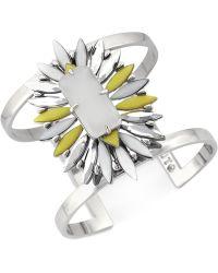 Vince Camuto - Silver-Tone Stone Cluster Drama Cuff Bracelet - Lyst