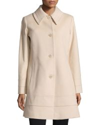 Fleurette - Banded-trim Long Wool Coat - Lyst