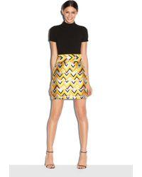 Milly | Chevron Brocade Aline Skirt | Lyst