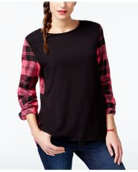 G.H.BASS - Plaid-sleeve Crew-neck Top - Lyst