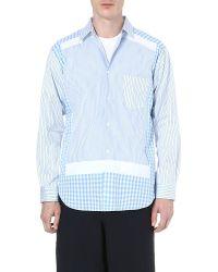 Comme Des Garçons Collage Stripe Panel Shirt Blue - Lyst
