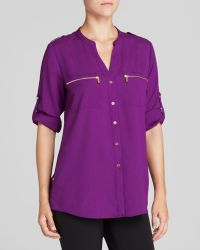 Calvin Klein Zip Pocket Roll Sleeve Shirt - Lyst