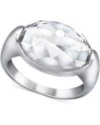 Swarovski Palladiumplated Clear Crystal Oval Ring - Lyst
