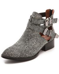 Jeffrey Campbell Everly Cutout Booties Blackfine White - Lyst