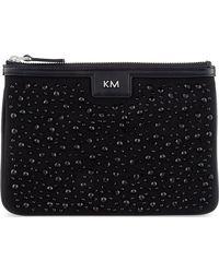 Karen Millen Stoneencrusted Cotton Pouch Black black - Lyst
