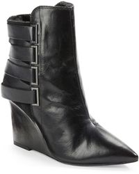 Luxury Rebel - Rahda Shearling-Lined 2 Leather And Suede Wedge Booties - Lyst