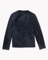 Theory Venzika Sh Coat In Bonded Suede blue - Lyst