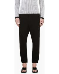 Costume National Black Jersey Leather Trim Lounge Pants - Lyst