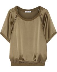 Elizabeth And James Juno Beaded Silk Satin Top - Lyst