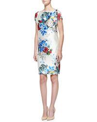 St. John Enchanted Floral Print Mikado Dress - Lyst