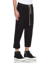Rick Owens Drawstring Cropped Woolblend Pant - Lyst