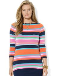 Lauren by Ralph Lauren Plus Three Quarter Sleeved Striped Top - Lyst