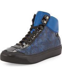 Jimmy Choo Argyle Snake-embossed High-top Sneaker - Lyst