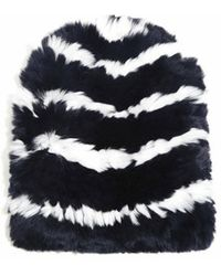 Eugenia Kim Elie Knitted Striped Fur Beanie - Lyst