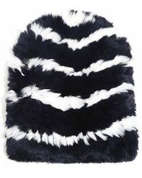 Eugenia Kim Elie Knitted Striped Fur Beanie blue - Lyst