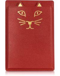 Charlotte Olympia - Feline Grained Leather Ipad Mini Case - Lyst