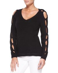 Milly V-neck Pullover W Peek-a-boo Sleeves - Lyst