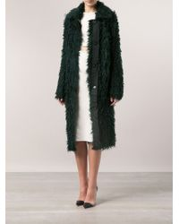 Lanvin Long Green Mohair Coat - Lyst