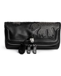 Alexander McQueen 'Padlock' Floral Patchwork Stud Leather Clutch black - Lyst