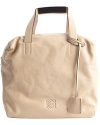Loewe Nude Leather Top Handle Tote - Lyst