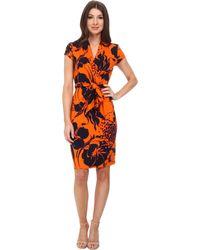 Adrianna Papell Cap Sleeve Wrap Printed Dress - Lyst