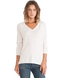 Vince Double Trim Vee Sweater - Lyst