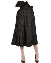 Bottega Veneta Gathered Ramie Cotton High Waist Skirt black - Lyst