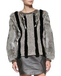 O'2nd Fox  Rabbit Fur Knit Sweatshirt - Lyst